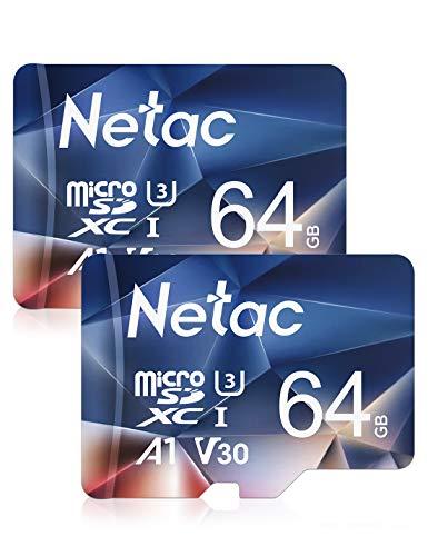 Netac Tarjeta Micro SD 64gb, Tarjeta microSDXC con Velocidad de Lectura hasta 100 MB/s (Micro SD Clase 10, U3, V30 y A1) Tarjeta de Memoria para Movil, Camara y Videovigilancia etc (Packs 2)