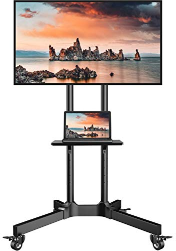 Mobile TV Cart with Wheels for 32-75 Inch LCD LED 4K Flat Curved Screen TVs- Height Adjustable Rolling TV Stand Hold Up to 132 lbs- Trolley Floor Stand with Tray Max VESA 600x400mm PSTVMC01