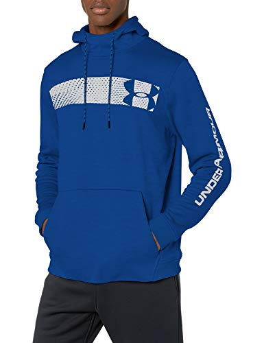 Under Armour Armour Fleece Pullover Hoodie bar Logo Graphic, Royal//Academy, Large