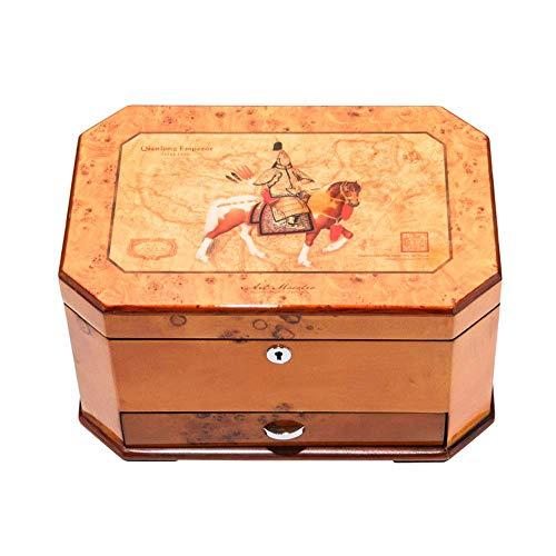 ALIANG Caja de Almacenamiento de Madera de los Pendientes del Collar del Anillo de la joyería de la Laca del Piano con la Cerradura