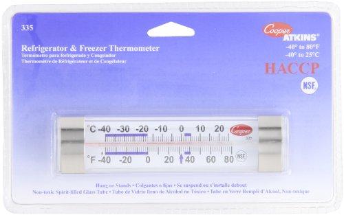 Cooper-Atkins 335-01-1 Thermometer, Refrigerator/Freezer, Horizontal Glass Tube, NSF -40 Degree F/80 Degree C