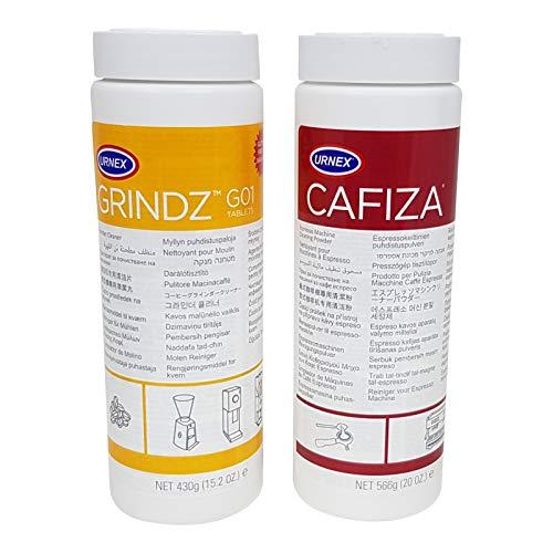 Urnex Brands Grindz Kaffeemühlen-Reiniger Granulat und Urnex Brands 12-ESP20 Cafiza Espressomaschinenreiniger Kaffeefettlöser im Doppelpack