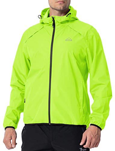 Rdruko Men's Cycling Running Jacket Waterproof Reflective Lightweight Windbreaker Windproof Bike Jacket Hooded Packable(Yellow, US XL)