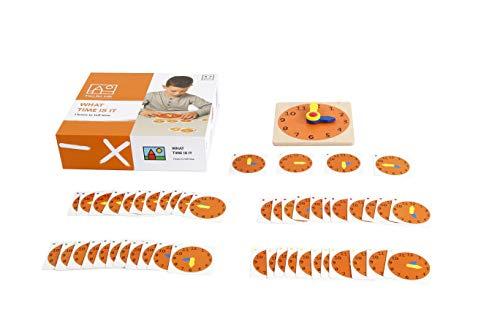 Increíble juego educativo premium para niños: reloj de enseñanza de madera ejercicio: ¿qué hora es? Reloj pequeño de 14 cm y 48 tarjetas. Excelente manera de demostrar el tiempo contándole a un niño.