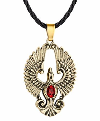 AccessCube Wolf Celtic Knot Pendant Necklace Animal Power Antique Silver Gothic Viking Slavic Amulet Necklace (Phoenix Bird/Bronze)