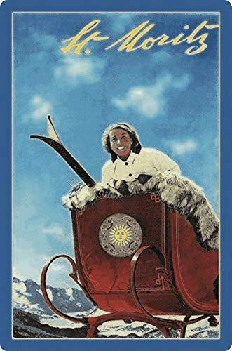 Generisch blikken bord 20x30cm reclame affiche St. Moritz slee ski zon metalen plaat