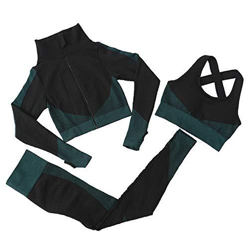 Jamron Donna Set di Abbigliamento Yoga Giacca+Reggiseno+Leggings 3 Pezzi Tuta Sportiva Palestra Fitness Activewear Nero-Verde SN071153 S