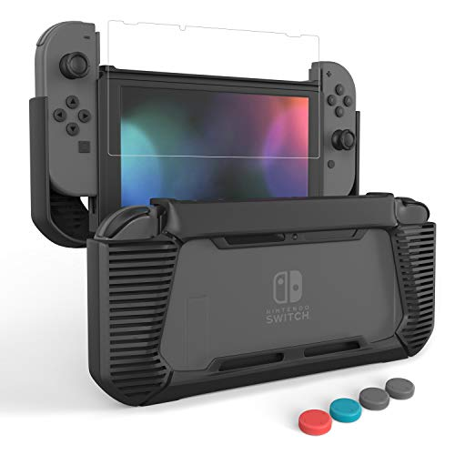 LEYUS Case Cover for Nintendo Switch, Protective Grips Case with Tempered Glass Screen Protector & 4 Joystick Caps, Slim Comfortable Handheld, Shockproof & Anti-Scratch Protection (Black)