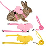 2 Pcs Rabbit Harness and Leash, Adjustable Bunny Harness, Cat Vest Harness and Leash Set, Cute Wings Pet Harness Leash Set for Bunny Cat Dog Puppy Kitten Ferret and Other Small Animals (Yellow+Pink)
