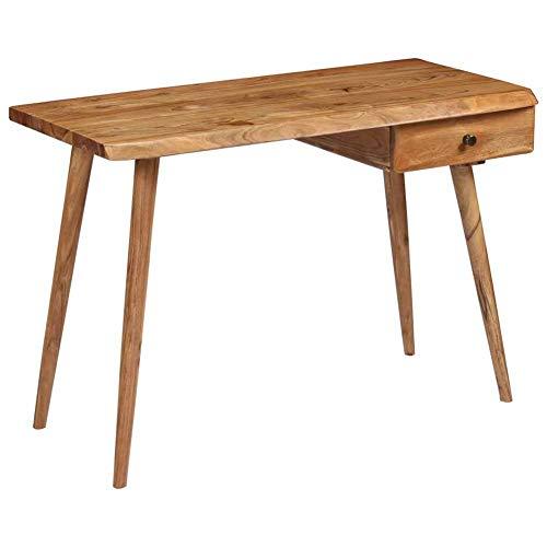 Cikonielf - Escritorio para ordenador con cajón, mesa de oficina en casa, estilo moderno, oficina, oficina, estación de trabajo, PC de madera de acacia maciza, estable y robusta, 110 x 50 x 76 cm