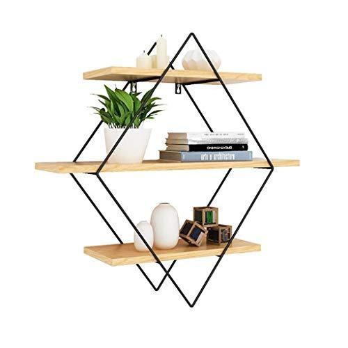 LYN-MEMORY Zwevende planken, zwevende planken, decoratieve wandplank, van ijzer en hout, onzichtbare montage, 3-traps wandrek