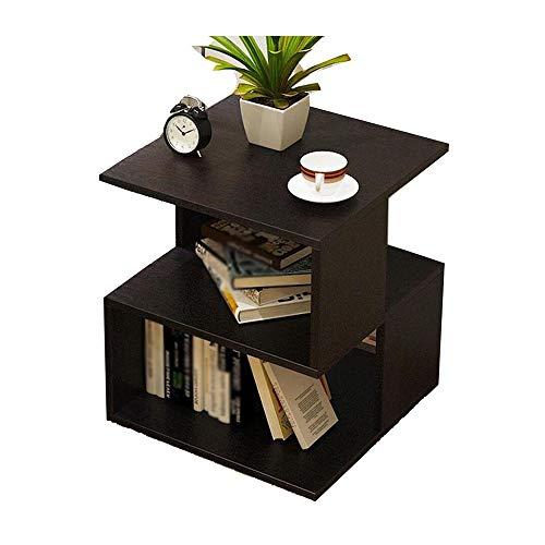 YNN Table Table de Chevet, canapé Multifonctions Table d'appoint/Coin/café/Bout avec étagère à 2 Niveaux Salon Chambre 40X40X44cm 3 Couleurs (Couleur : Noir)