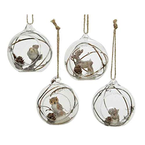 KAE - Juego de 4 bolas redondas de cristal para árbol de Navidad (8,5 cm)