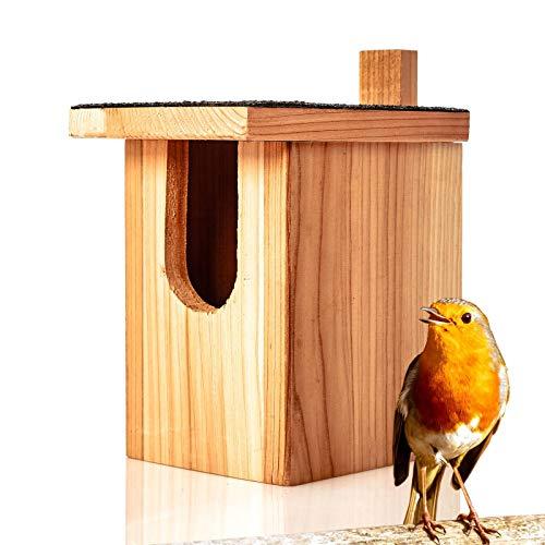Skojig© Nistkasten für Rotkehlchen aus Naturholz : wetterbeständige Nisthilfe | Brutkasten fertig montiert aus unbehandelten Massiv-Holz - Nisthilfe für Halbhöhlenbrüter : Vogelhaus Nest