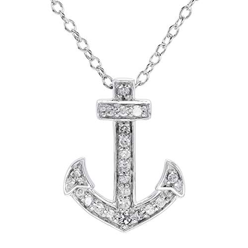 1/10 ct Diamond Anchor Pendant Necklace in Sterling Silver