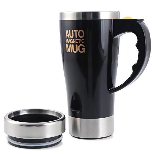 TsunNee Taza de café eléctrica de 450 ml, de acero inoxidable, con imán automático, taza de mezcla automática para té de café, chocolate caliente, proteína de cacao, color negro