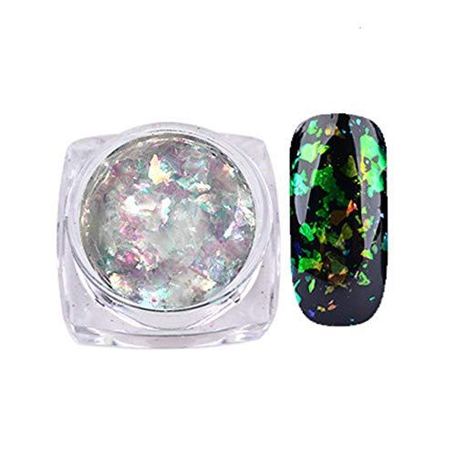 feiXIANG OnglesManucure Chrome Pigment Glitters Transparent, Salon Pro Ongle de Gel Paillettes Paillettes Bouts de Chrome Poussière de Poudre Effet Bris de Verre Pour UV Gel D'ongle Polonais