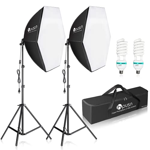 HPUSN Softbox Photography Lighting Kit 30 X30  Professional Continuous Lighting System Photo Studio Equipment with 2pcs E27 Socket 5400K Bulbs for Portraits Advertising Shooting YouTube Video