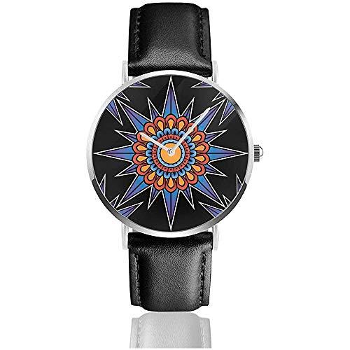 Tatuaje Patrón Brújula Acero Inoxidable Correa de Cuero Relojes Relojes de Pulsera