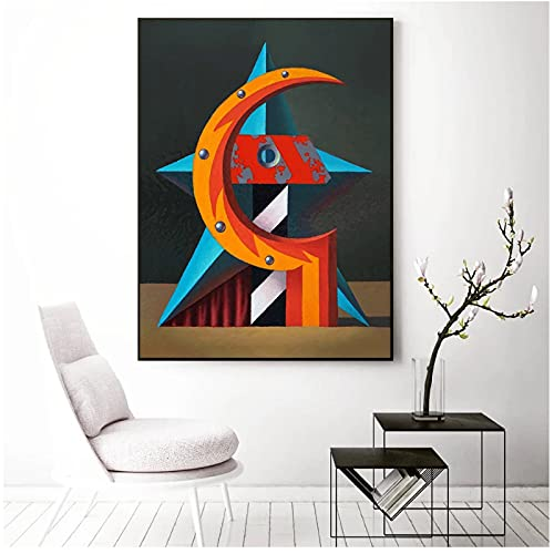 ZNNHEROFaris Dimites Poster d'Arte Moderna, Falce E Martello Mostra Dipinti su Tela Home Office Wall Decor-50X70Cmx1 Senza Cornice
