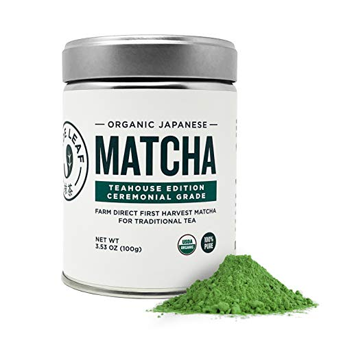 Jade Leaf Organic Ceremonial Grade Matcha Green Tea Powder - Authentic Japanese Origin - Teahouse Edition Premium First Harvest (3.53 Ounce)