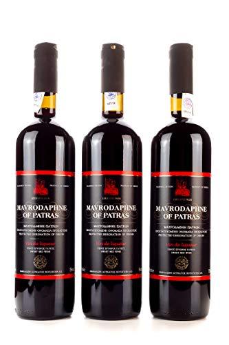 3x 750ml Mavrodaphne Loukatos Rotwein im Set 15% Vol. griechischer Süßwein Likörwein Dessertwein + 10ml kretisches Olivenöl Sachet zum testen gratis