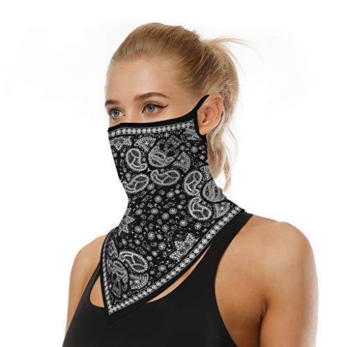 COZOCO Protección Facial, en stock, Reutilizable a prueba de polvo lavable Mascarilla de algodón con bucles para los oídos Bufanda deportiva Tubo para el cuello antipolvo para la cara (C3)