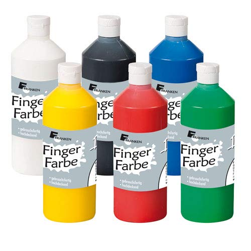 FRANKEN Fingerfarbe 500 ml, 6 Flaschen Fingermalfarbe Kinderfarben