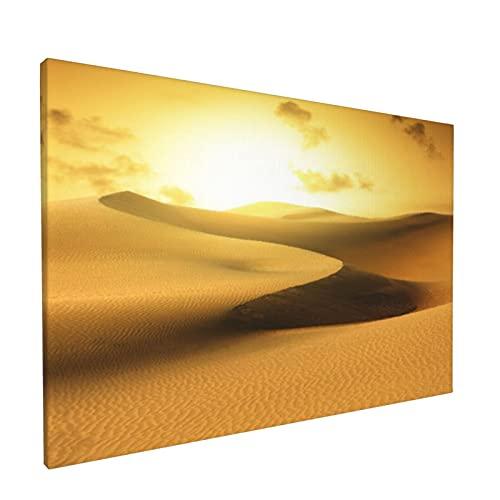 Arte de pared,Desierto de oro en la puesta del sol. Canaria,pinturas al óleo enmarcadas impresas en lienzo Obra de arte moderna para sala de estar dormitorio decoración de pared de oficina