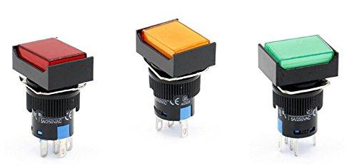 Woljay 16mm Commutateur à bouton poussoir Momentané Rectangulaire LED Lampe Rouge Orange Vert Lumière AC 220V SPDT 5Pin 3 Pcs