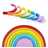 GFEU Madera Rainbow Semicírculos Stacker Geometría Bloques de Construcción Rompecabezas Aprendizaje Temprano Juego de Juguetes Educativos para Niños Bebés