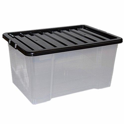 CrazyGadget 50L 50 Litre Large Big Plastic Storage Clear Box Strong...