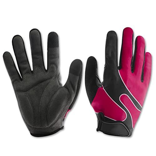 Guanti di ciclismo a lunghe dita d'autunno e d'inverno, Sports Outdoor High Stretch Touch Screen Gloves, non slip Guanti caldi caldi-Rose color   L