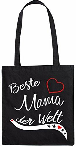 Mister Merchandise Shopping Tasche Beutel Beste Mama der Welt Mutter Mutti Geschenk Muttertag Baby Schwanger Jutebeutel Natur Öko Schwarz