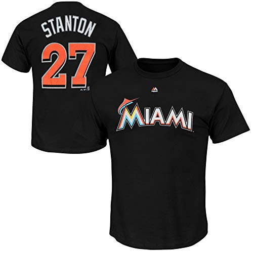 Outerstuff Giancarlo Stanton Miami Marlins #27 Black Youth 8-20 Name and Number T-Shirt (Small 8)