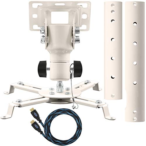 """Cheetah Mounts APMEW Universal Projector Ceiling Mount. Includes an Adjustable Extension Pole and Twisted Veins 15"""" HDMI Cable"""