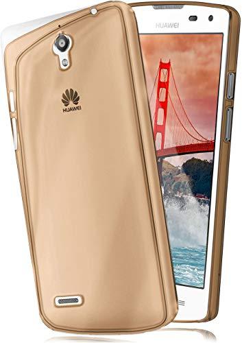moex Aero Hülle kompatibel mit Huawei Ascend G610 - Hülle aus Silikon, komplett transparent, Klarsicht Handy Schutzhülle Ultra dünn, Handyhülle durchsichtig einfarbig, Gold