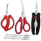 Seafood Scissors and Lobster Forks Set of 6 pcs for Kitchen Seafood Fish Crab Shrimp Scissors Set