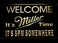 Miller It's Miller Time 5pm LED看板 ネオンサイン ライト 電飾 広告用標識 W60cm x H40cm イエロー