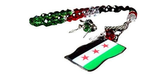 Islamische Landesflagge Karte Gebet 33 Perlen Rosenkranz Masbaha mit Quasten (Syrien Neue Flagge)