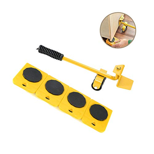 Onerbuy Furniture Lifter with 4 Pack Moving Sliders Heavy Furniture Roller Move Tools Max Up for 150KG/330 LB, 360 Degree Rotatable Pads (Yellow)