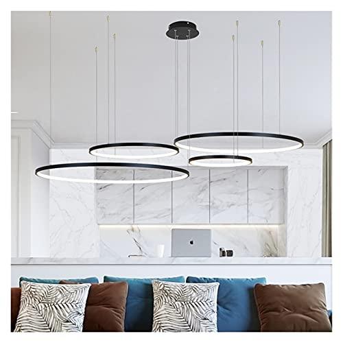 Lámpara Nueva araña de LED moderna para sala de estar Dormitorio Comedor Anillo de aluminio Colgante interior Lámpara de lámpara de iluminación wall light (Color : White)