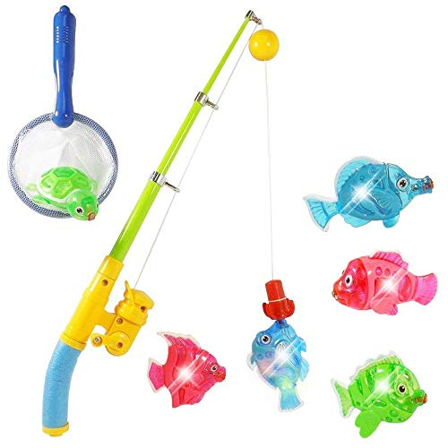 Liberty Imports Magnetic Light Up Fishing Bath Toy Set for Kids - Rod and Reel with Sea Turtle and 5 Unique Fish - Ideal for Kids Age 3, 4, 5, 6 Year Old Boys, Girls