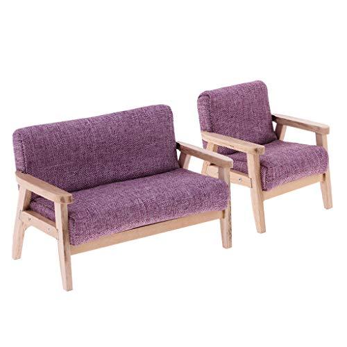 dailymall 1:12 Muebles en Miniatura de Casa de Muñecas - Sofá Individual Y Asiento de Amor de Estilo Retro, Modelo Realista de Exhibición del Hogar, Color Púrpu