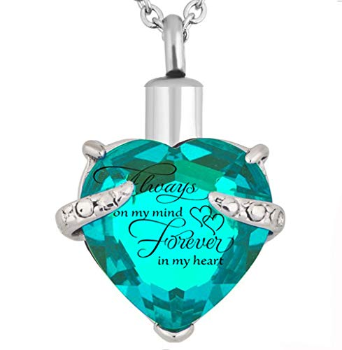 PREKIAR Heart Cremation Urn Necklace for Ashes Urn Jewelry Memorial Pendant with Fill Kit and Gift Box - Always on My Mind Forever in My Heart (Lake Blue)