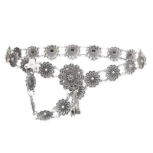 GSDJU Cadena de Cuerpo de Estilo Vintage Bohemio Plateado Flor chapada en Color Plateado y Campana de Sol Borla cinturón de Cintura Cadena Encanto de Mujer Joya Gitana India