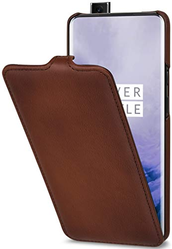 StilGut Hülle geeignet für OnePlus 7 Pro Lederhülle vertikales Flip-Hülle, braun antik