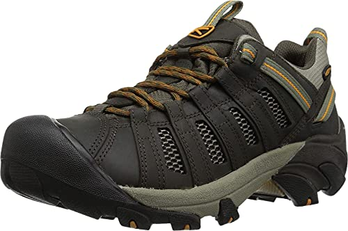 KEEN Men's Voyageur Trail Shoe, Black Olive/ Inca Gold, 11 M US