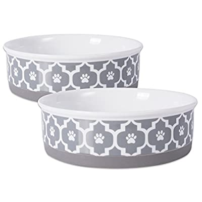 """DII Bone Dry Lattice Ceramic Pet Bowl for Food & Water with Non-Skid Silicone Rim for Dogs and Cats (Large - 7.5"""" Dia x 2.4""""H) Gray - Set of 2"""