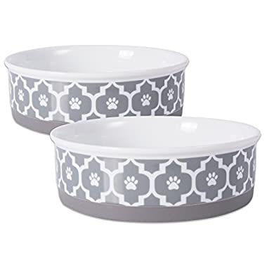 Bone Dry DII Lattice Ceramic Pet Bowl for Food & Water with Non-Skid Silicone Rim for Dogs and Cats (Large - 7.5  Dia x 4  H) Gray - Set of 2